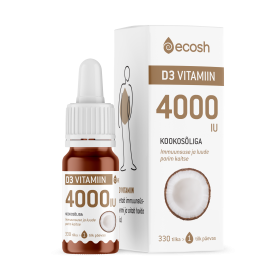 ECOSH VITAMIIN D3, 4000-IU tilk, kookosõliga 10ml
